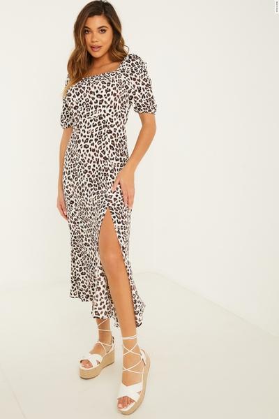 Cream Animal Print Midi Dress